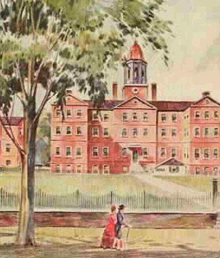 An illustration of New York Hospital, circa 1790s