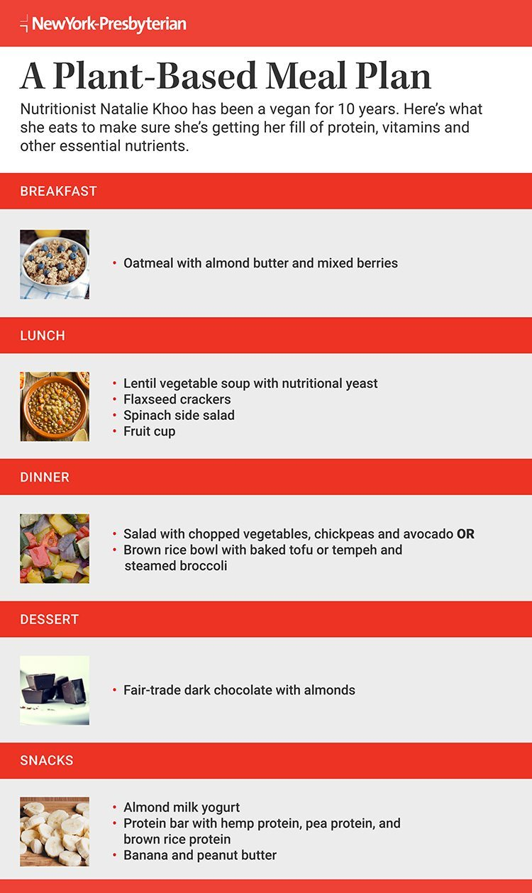 Infographic outlining vegan meals