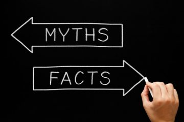 An illustration depicting myths and facts