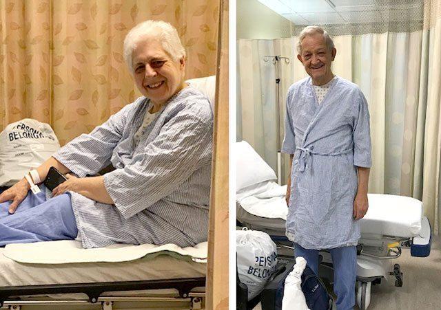 Joan and Bill McComas awaiting surgery at NewYork-Presbyterian/Weill Cornell Medical Center