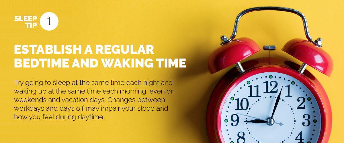 Text explaining the importance of establishing a regular sleep routine