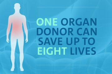 """Text saying """"One organ donor can save up to eight lives"""""""