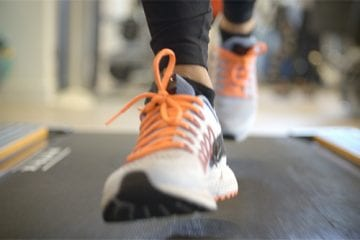 Sneakers running on a treadmill