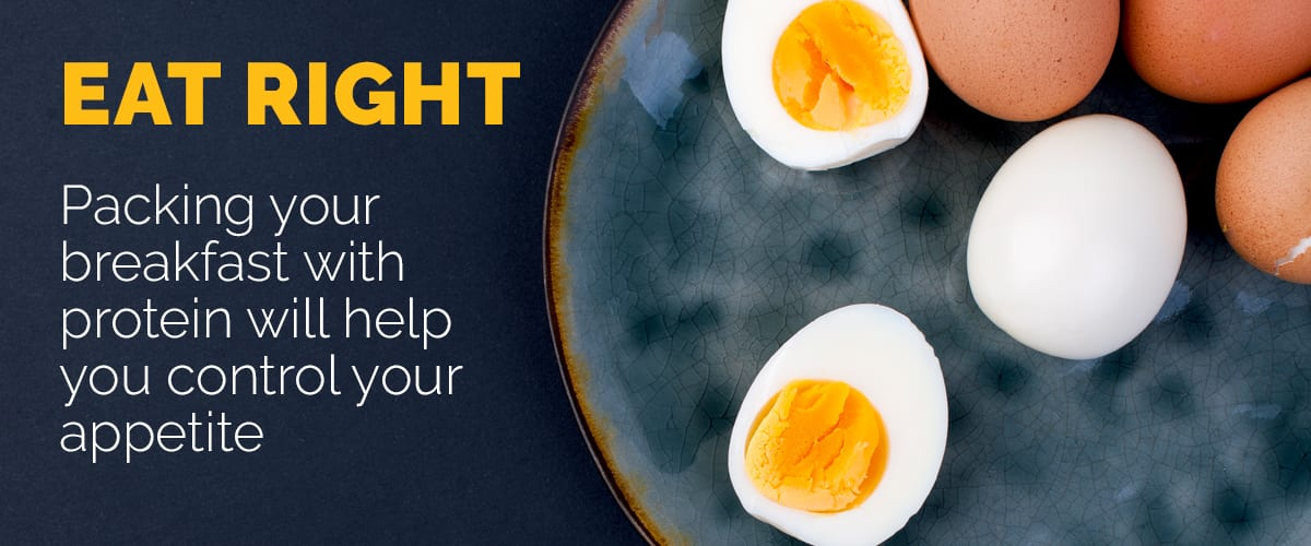 Text explaining the importance of a protein-packed breakfast
