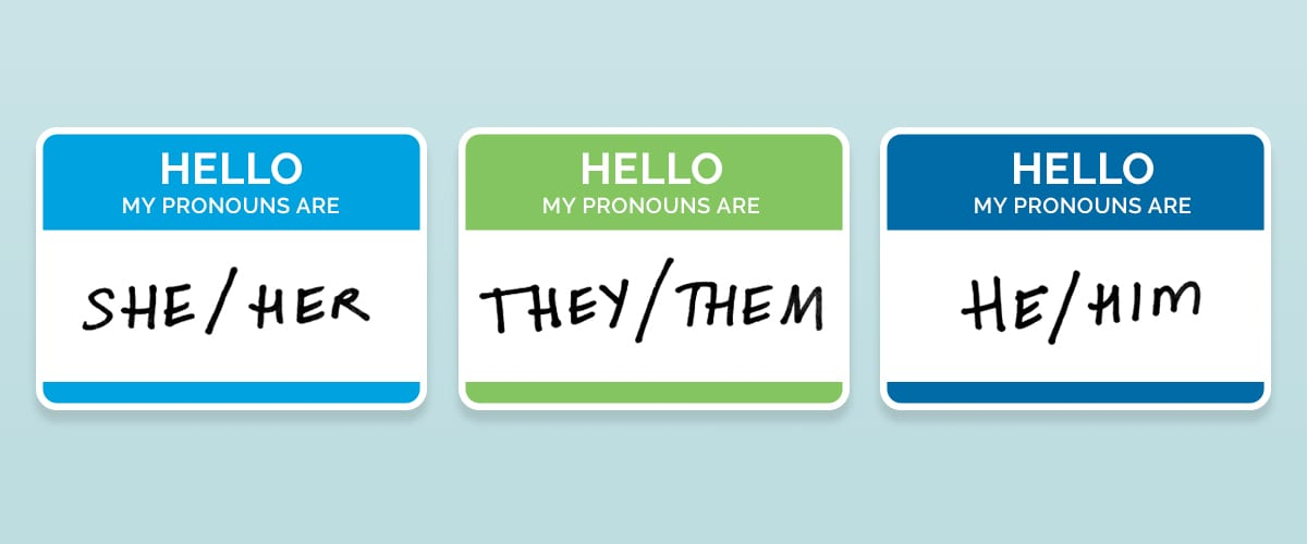 Name tags with different pronouns