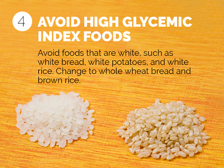 Text saying to avoid high-glycemic index foods