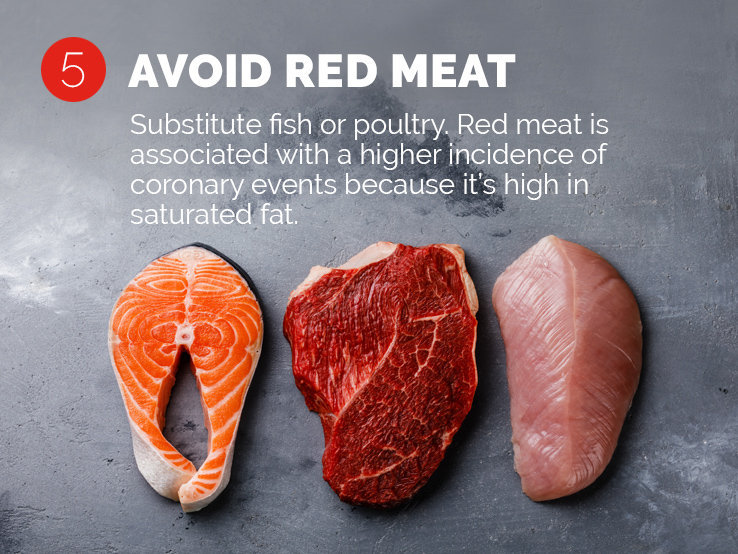 Text saying to avoid red meat