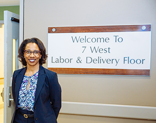 Dr. Laura Riley outside the 7 West Labor & Delivery Floor