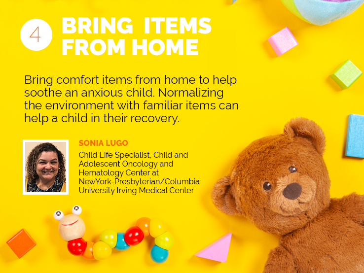 Text explaining why kids in the hospital need items from home to comfort them