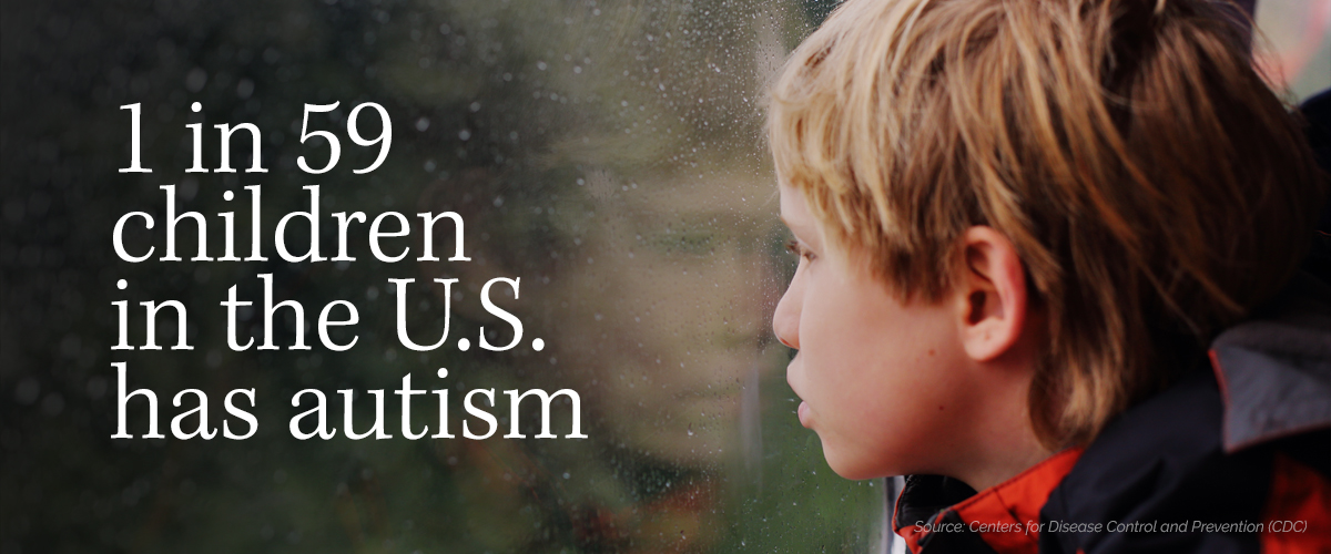 Text stating that 1 in 59 children in the U.S. has autism