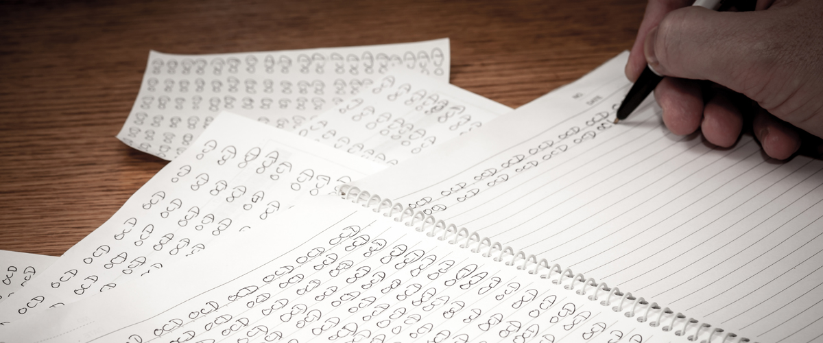 OCD (obsessive compulsive disorder) written repeatedly on a piece of paper