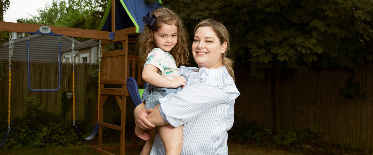 Kristin McKinley and daughter Emma. Kristin learned she had acute myeloid leukemia while pregnant with Emma.