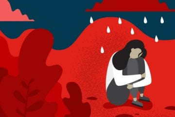 Illustration of woman looking depressed or contemplating suicide.