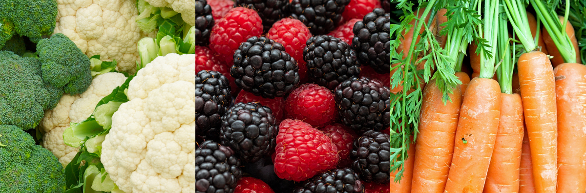 Cauliflower, broccoli, raspberries, blackberries, and carrots––5 doctor-approved kitchen staples.