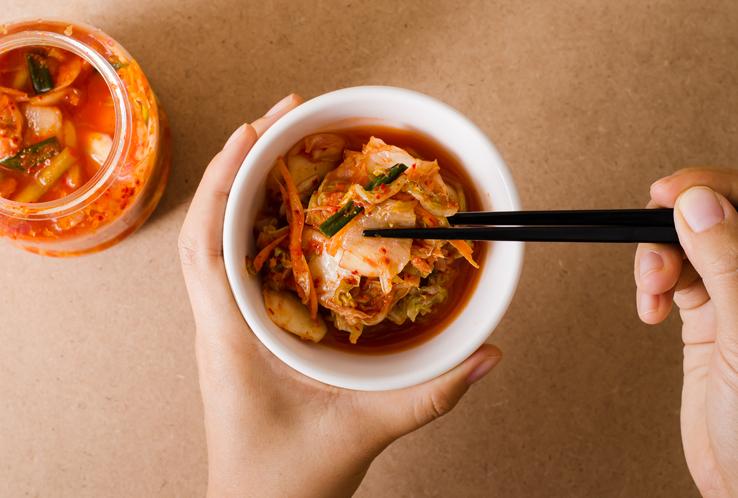A bowl of kimchi.