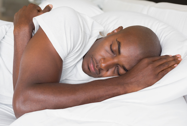 A man sleeping peacefully.