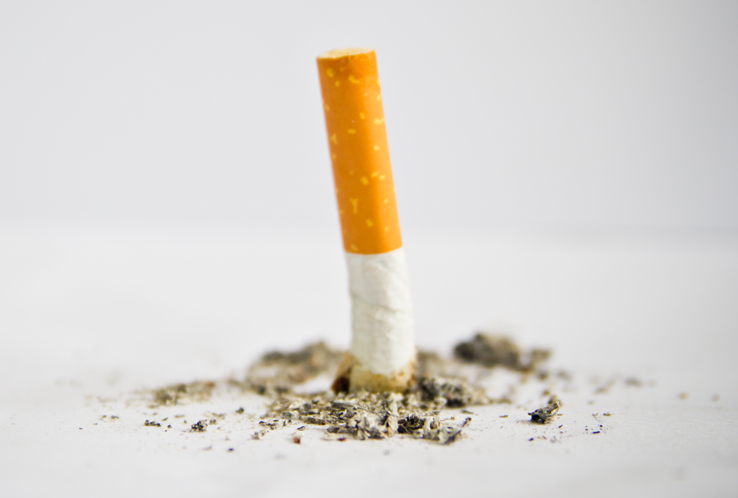A cigarette being put out.