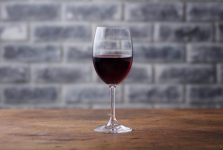 A single glass of wine