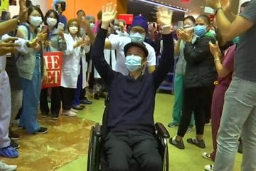 Dr. Tomoaki Kato, discharged from the hospital after 8 weeks of battling COVID-19.