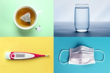 A grid of images showing some of the things you may need to treat yourself at home for COVID-19.