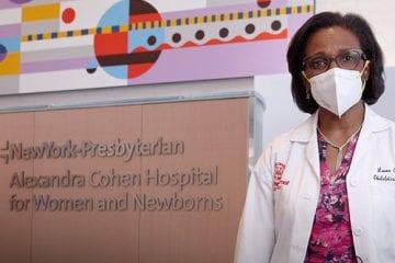 Dr. Laura Riley stands inside NewYork-Presbyterian Alexandra Cohen Hospital for Women and Newborns