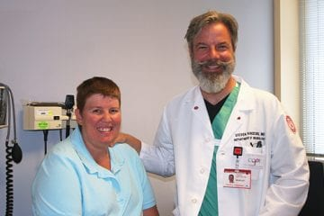 Dr. Karceski with Tracey Drake, his patient treated for epileptic seizures.
