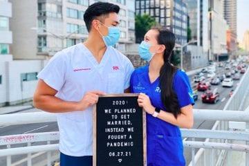 Engaged nurses Paulo Luardo and Carrie Wan
