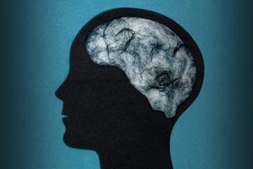 Profile of person where their brain looks like fog