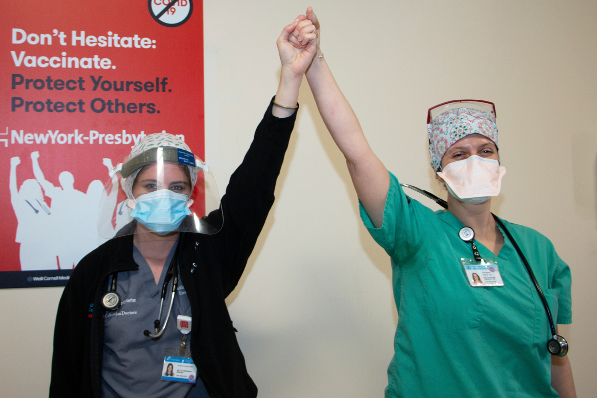 NYP staffers get COVID-19 vaccine