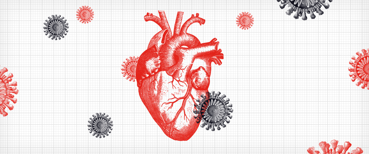 illustration of coronavirus, which causes the disease COVID-19, and the heart