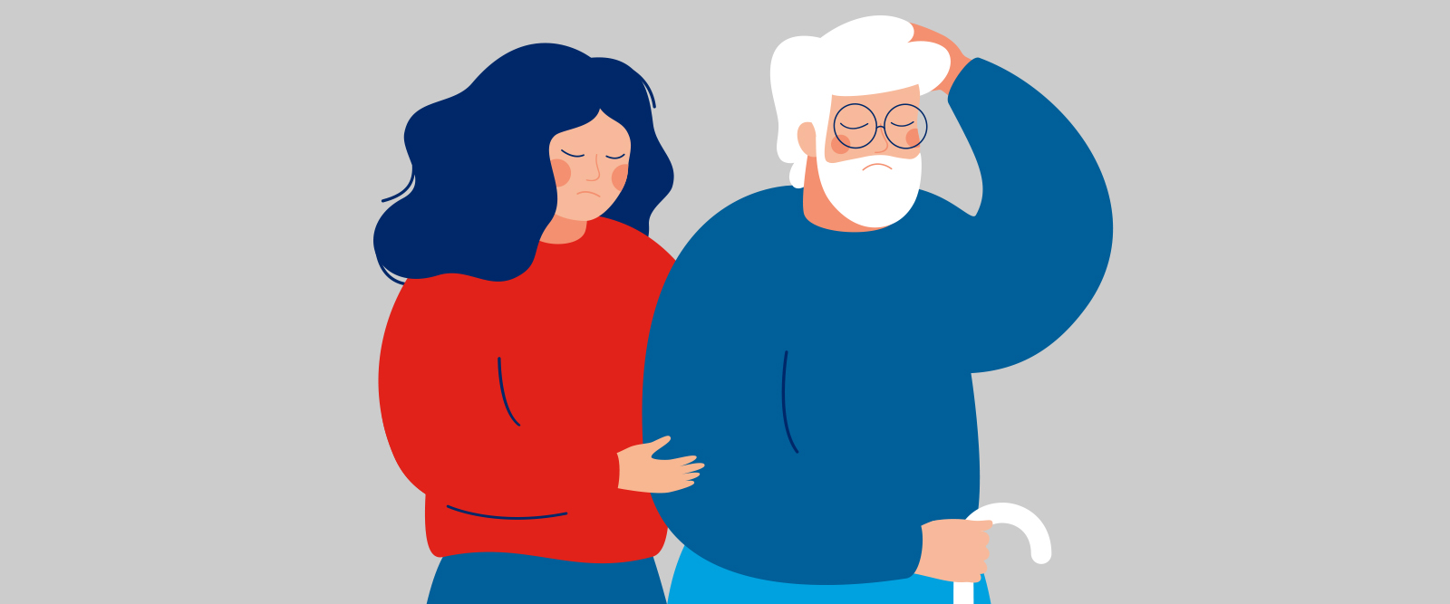 Illustration of woman helping elderly man who is injured