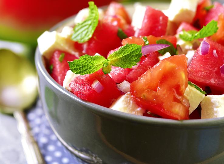 healthy summer recipe for watermelon and feta salad