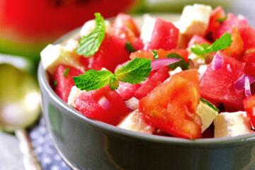 healthy summer recipe - watermelon and feta salad