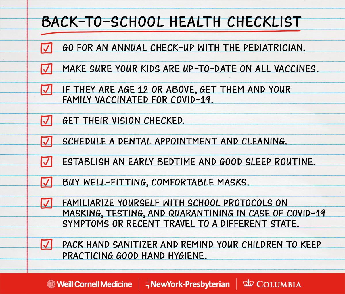 Back to school health checklist