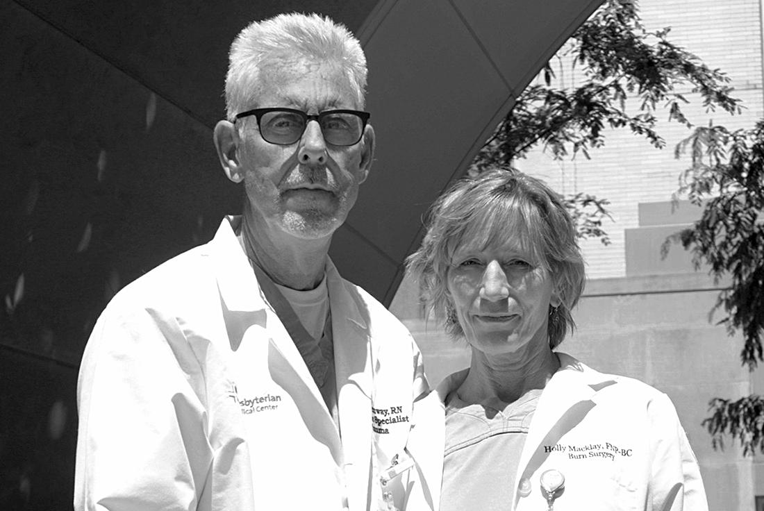Andrew Greenway & Holly Macklay, nurses at the William Randolph Hearst Burn Center