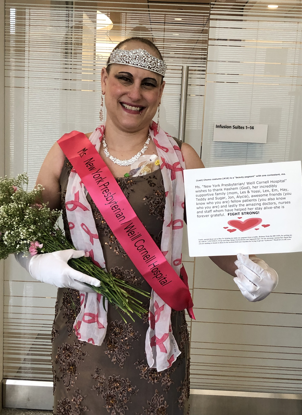 Ellen Fields, breast cancer patient, dresses up for chemo treatment.